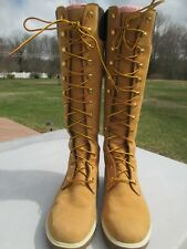"Women's  ""Timberland Tan Nubuck 14"" High Lace Up Leather Boots""  8 1/2M / VG+"