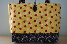 Lady Bug Purse trimmed in Black White Dot Handmade Handbag Gift Bag Diaper Bag