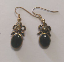 Bronze Vintage Bow Design Earring With Black Onyx Stone