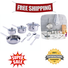 Stainless Steel 10 Pieces Cookware Set with Kitchen Tools