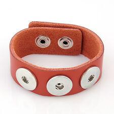 Leder ARMBAND Chunks Chunk Click Button Druckknopf (18-22 cm) Orange Braun #4107
