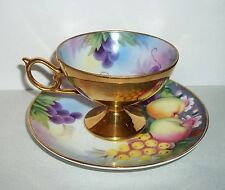 Vtg Kyokuto China PEDESTAL CUP/SAUCER Hand Painted FRUIT w/GOLD Occupied Japan