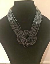 Handmade Costume Boho Chic Silver Black Ombre' Knot Tribal Chunky Bead Necklace