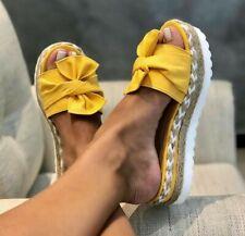 Women Wedge High Heel Platform Slippers Casual Summer Beach Sandals Bow Shoes