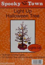 Halloween 19 inch Spooky Tree with Ornaments & Spiders 16 Bright Colorful Lights