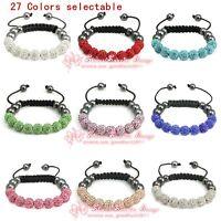 S277/ Fashion Shamballa Bracelet 10MM 9 Disco Crystal Clay Balls gift wholesale