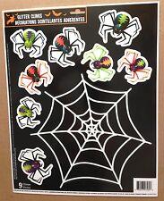 Glitter Window Cling Decal-ARACHNOPHOBIA SCARY SPIDER & WEB-Halloween Decoration