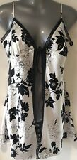 Victoria's Secret White & Black Floral Satin Open Front Babydoll Chemise Medium