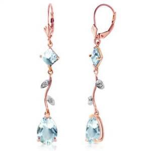Aquamarine Leverback Earrings In 14K Rose Gold (3.97 ct. tw