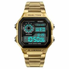 Mens Digital Quartz Wrist Watch Sport Army Waterproof LED Gold Stainless Steel