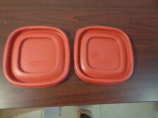 (2) Red Rubbermaid easy find replacement lids 4 1/4 inch