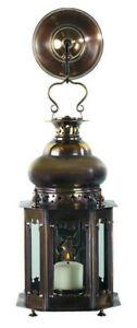 "Brass Venetian Style Candle Lantern Lamp 13.6"" Glass Light Fixture Wall Decor"