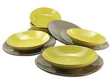 Organic Tafel Geschirr 12teilig schlamm oliv CreaTable Steinzeug 14258 GB