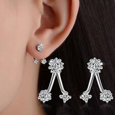Women Elegant Solid 925 Sterling Silver Natural Zircon Star Ear Stud Earrings