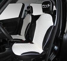 FODERE SEDILI AUTO SU MISURA FIAT 500 L ( Lounge 2013)  SIMILPELLE BIANCA + NERO