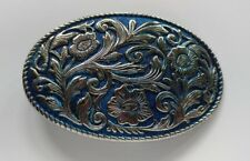 WESTERN BLUE SILVER TONED FLORAL DECORATIVE SMALL OVAL BELT BUCKLE - NEW