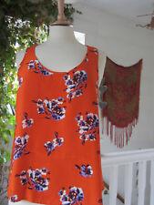 River Island Orange Floral Print Top Size 12 Excellent Condition.
