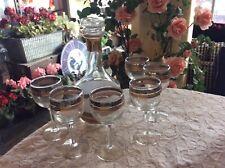 New listing Retro Culver Ltd 8 Piece Gold & Silver Banded Decanter -6 Wine Stem Glass Set