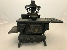 VINTAGE CAST IRON CRESCENT STOVE MINI TOY SALESMAN SAMPLE+ACCESSORIES