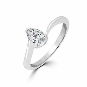 0.14 Ct Pear Cut SI1/E Color Solitaire Diamond Engagement Ring 14K White Gold