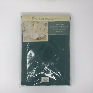Entertaining Set Tablecloth w 6 Napkins Hunter Green Oblong 60x84 New Old Stock