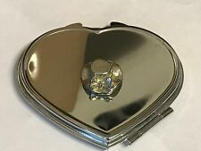 Wedding Bow Hat TG101 Fine Pewter on Heart Shape Compact Mirror