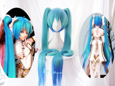 Vocaloid Hatsune Miku Show 120cm Ponytails Anime Cosplay Wig Gradient Blue 雪ミク