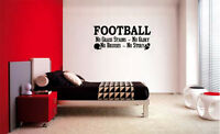 FOOTBALL NO GRASS STAINS NO GLORY VINYL WALL DECAL LETTERING BOYS SPORTS DECOR
