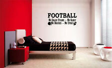 FOOTBALL NO GRASS STAINS NO GLORY LETTERING WALL ART DECAL DECOR QUOTE BOYS ROOM
