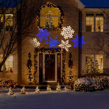 Christmas LED Light Projection Swirling Snow Flakes Projects 15 Ft White Blue