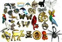Lot 34 Brooches Pin Rhinestone Enamel Gold Tone etc Animals Jewelry Estate #PI5