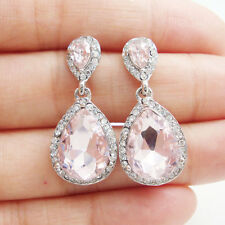 Silver Tone Pink Austrian Crystal Bride Bridesmaid Teardrop Dangle Earrings