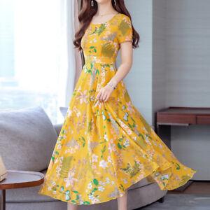 Summer Long Dress Sundress Women Floral Printed Short Sleeve Party Maxi Dress