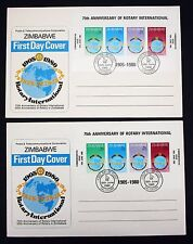 Zimbabwe FDC Rotary International 2x First Day Letter Africa Block (4445 +