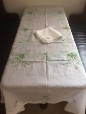 Gorgeous Vintage White Tablecloth Green Floral Embroidery & 12 Matching Napkins!