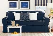 Monaco One Piece Loveseat Slipcover Midnight Blue / white Sure Fit sure fit new