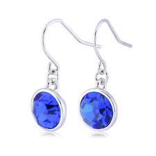 Royal Blue Dangle Hook Earrings - Made with Swarovski Crystals - Rhodium plated