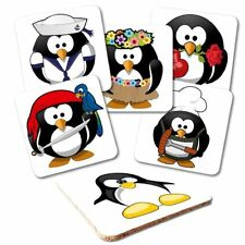 Untersetzer 6-tlg.Set 'CARTOON PINGUIN' - Linux - Korkrückseite - Tux - Coaster