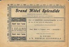 Stampa antica pubblicità GRAND HOTEL SPLENDIDE Lugano 1895 Old antique print