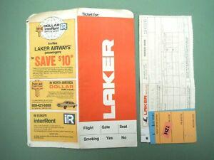LAKER AIRWAYS TICKET VINTAGE 1980 LONDON - NEW YORK FLIGHT