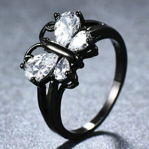 Mystic White Topaz Black Gold Filled Butterfly Ring Women Engagement JewelryGift