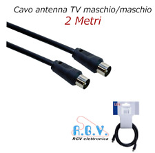 Cavo coassiale per antenna TV schermato maschio maschio spina spina da 2mt nero