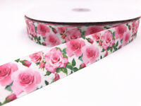 10 Yard 1'' 25MM Roses Printed Grosgrain Ribbon Hair Bow Sewing Crafts Ribbon