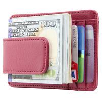 Men's Leather Slim Front Pocket Wallet ID Credit Card Holder Magnetic Money Clip