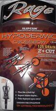 """39700 Rage Hypodermic Crossbow Broadheads! 125 Grain 2"""" Cut Slipcam Rear Deploy"""