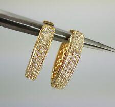 14K Solid Yellow Gold Diamond Hoop earrings stud diamond earrings 222 stones