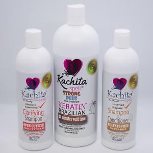 Full Kit Brazilian Keratin Treatment Kachita Spell Chocolate 32floz + 2 Shampoo