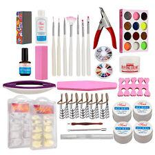 Pro UV Gel Kits Acrylic Powder UV Gel Buffing Cream Topcoat French Nail Tips Set