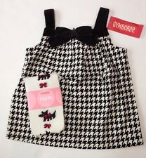 NWT Gymboree Holiday Friend 6-12 Houndstooth Velveteen Bow Jumper Dress & Tights