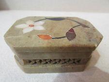 boite coffret en pierre marqueterie decor floral